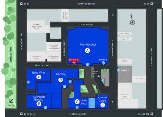 St Vincent's Hospital Melbourne map